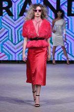 GRANDI Vancouver Fashion Week party girl hot pink jacket skirt Black Iris lenses
