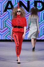 GRANDI Vancouver Fashion Week party girl red coat pants Black Iris lenses