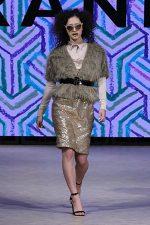 GRANDI Vancouver Fashion Week party girl blue champagne fur coat sequin skirt Iris lenses
