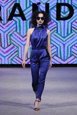 GRANDI Vancouver Fashion Week party girl blue high neck jumpsuit Iris lenses