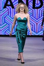 GRANDI Vancouver Fashion Week party girl green strapless dress Black Iris lenses