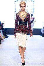 GRANDI runway fur trim tartan jacket white pencil skirt