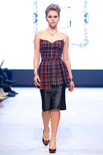 GRANDI runway tartan strapless kilt leather skirt