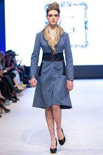 GRANDI runway blue wool coat fur trim