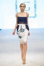 GRANDI runway leather flower embroidery white pencil skirt chiffon cutout