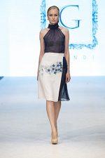 GRANDI runway blue high neck blouse asymmetrical skirt blue leather flower embroidery skirt