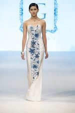 GRANDI runway strapless leather flower embroidered white taffeta gown