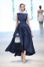 GRANDI runway royal blue taffeta leather flower gown
