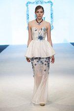GRANDI runway strapless leather flower taffeta chiffon gown