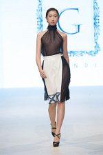 GRANDI runway high neck chiffon top white skirt chiffon cutout