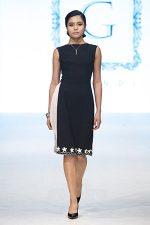 GRANDI runway black dress white chiffon cutout