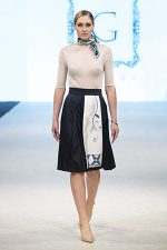 GRANDI runway blue pleated skirt leather flower embroidery