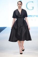 GRANDI runway geometric black taffeta coat dress
