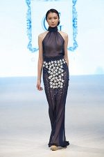 GRANDI runway blue chiffon leather flower high neck gown