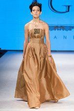 GRANDI runway rose gold strapless ball gown