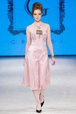GRANDI runway pink gold strapless dress