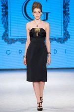 GRANDI runway black gold strapless dress