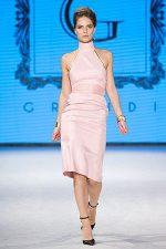 GRANDI open back pink high neck dress